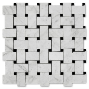 Basket-Weave-Mosaic-Bianco-Carrara-with-Black-dots