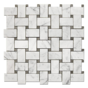 Basket-Weave-Mosaic-Bianco-Carrara-with-Grey-dots