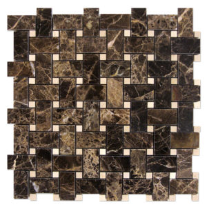 Basket-Weave-Mosaic-Dark-Emperador-with-Crema-marfil-dots