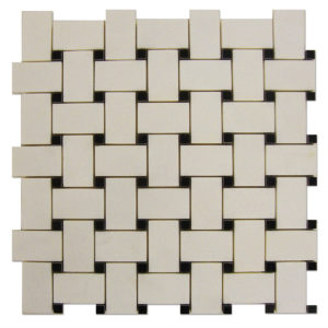 Basket-Weave-Mosaic-Thassos-with-Black-Dots