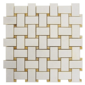 Basket-Weave-Mosaic-Thassos-with-Honey-Onyx-Dots