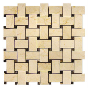 Crema-Marfil-Basket-Weave-Mosaic-with-Dark-Emperador-dots