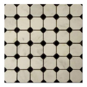 Octagon-mosaic-Statuary-white-Black-Dots-Polished