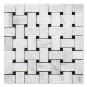 basket mosaic milas white with black dots polished