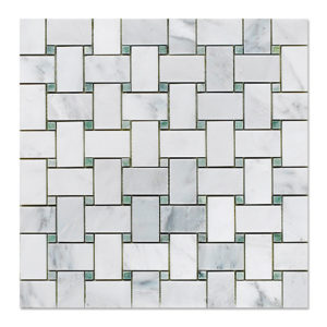 basket-mosaic-statuary-calacatta-with-ming-green-dots