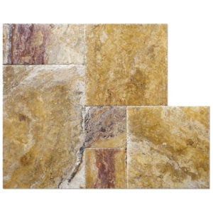 crimson-travertine-brushed-french-pattern