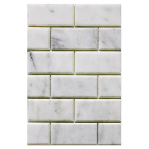 milas white mosaic 2x4 polished big bevelled