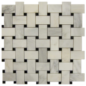 Basket-Weave-Mosaic-Statuary-Calacatta-with-Black-dots