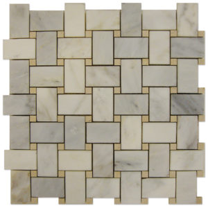 Basket-Weave-Mosaic-Statuary-Calacatta-with-Crema-Marfil-dots