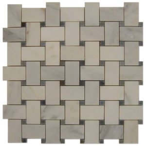 Basket-Weave-Mosaic-Statuary-Calacatta-with-Grey-dots
