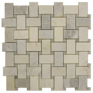 Basket-Weave-Mosaic-Statuary-Calacatta-with-Ming-Green-dots