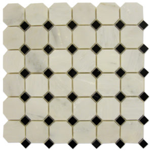 Octagon-Mosaic-Statuary-Calacatta-with-Black-dots