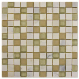 Statuary-Calacatta-Mosaic-1x1-Mixed-with-Glass