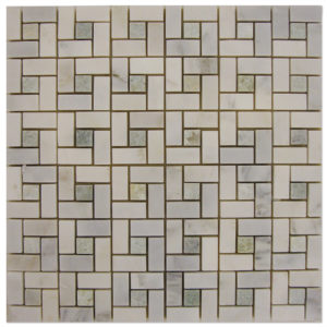Target-Mosaic-Statuary-Calacatta-with-Ming-Green-dots