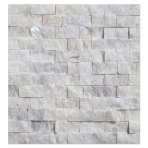 milas white split face mosaic 1x2