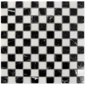 nero-marquina-mosaic-1x1-with-white-dots-checker-board