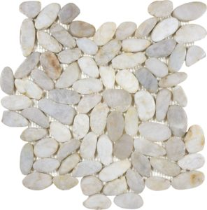 Zen Tonga Fiji Cream Flat Polished Pebble Mosaic